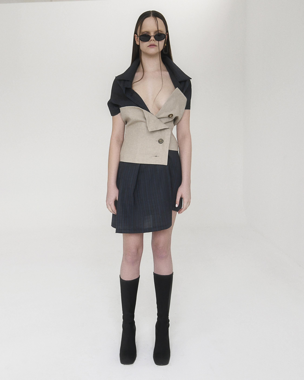 Sage Two-Tone Bustier Dress