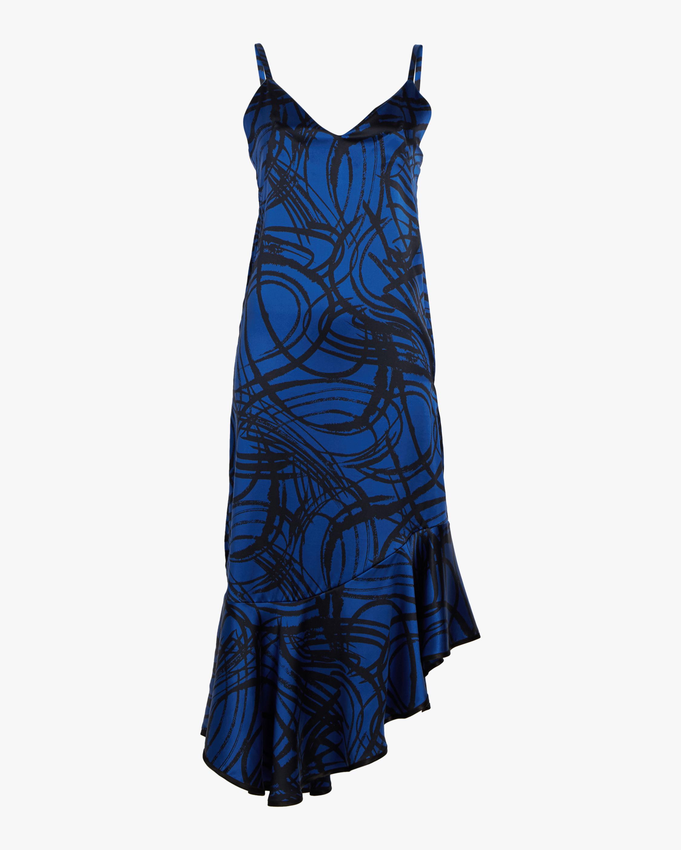 aaizél Kodiak Silk Slip Flounce Dress 0