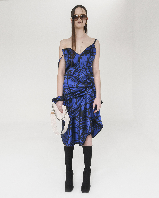 aaizél Kodiak Silk Slip Flounce Dress 1