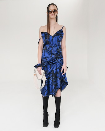 aaizél Kodiak Silk Slip Flounce Dress 2