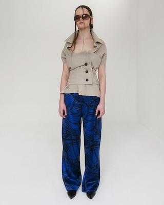 Aster Wide Leg Silk Trousers