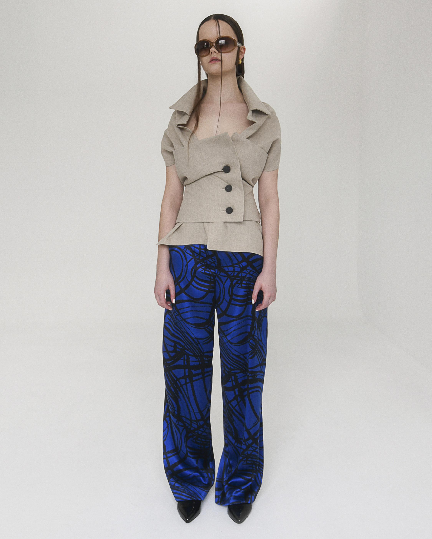 Aster Wide Leg Silk Trousers