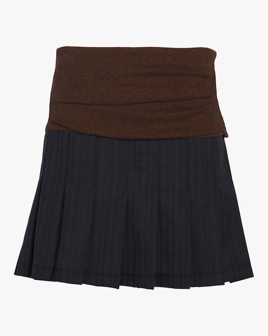 aaizél Saya Knit Pleated Mini Skirt 0