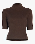 aaizél Dalia High Neck Ribbed Knit Top 0
