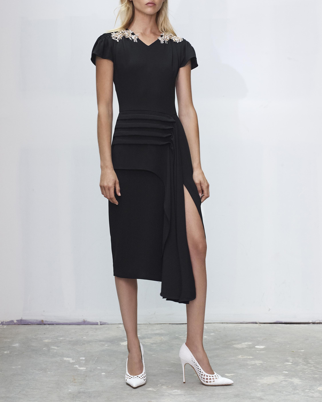 Embroidered Crepe Sheath Dress