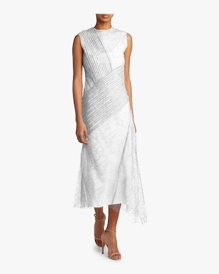 Lace-Trimmed Silk Chiffon Ruffle Dress