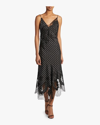 Pinstriped Strappy Cocktail Dress