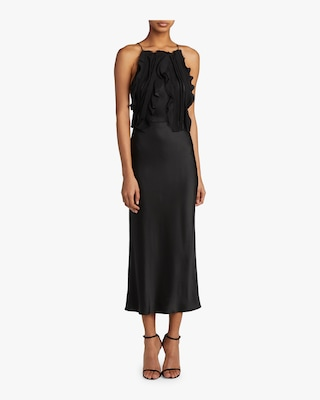 Crepe-Back Satin Ribbon-Trim Cocktail Dress