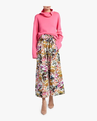 Printed Cotton Silk Faille Culottes