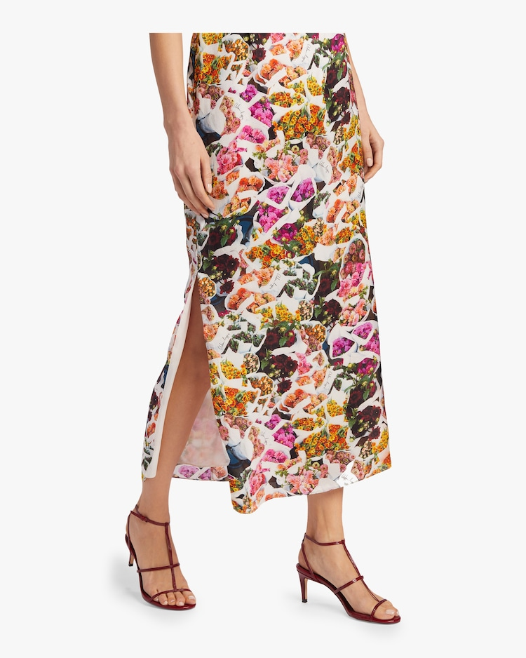 Printed Satin Chiffon Cami Dress Adam Lippes