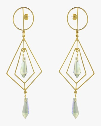Secret Geometry Crystal Earrings