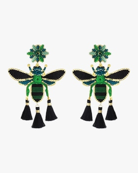 Green and Black Flying Insect Earrings