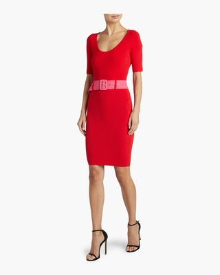 Belted Fitted Sheath Dress
