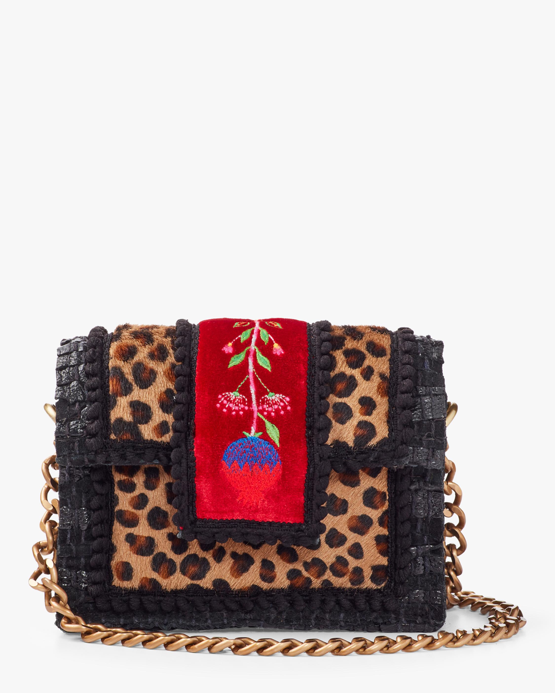 Petite Leopard Embroidered Shoulder Bag