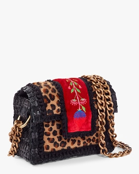 Petite Leopard Embroidered Shoulder Bag