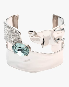 Crystal Encrusted Crumpled Solitaire Cuff