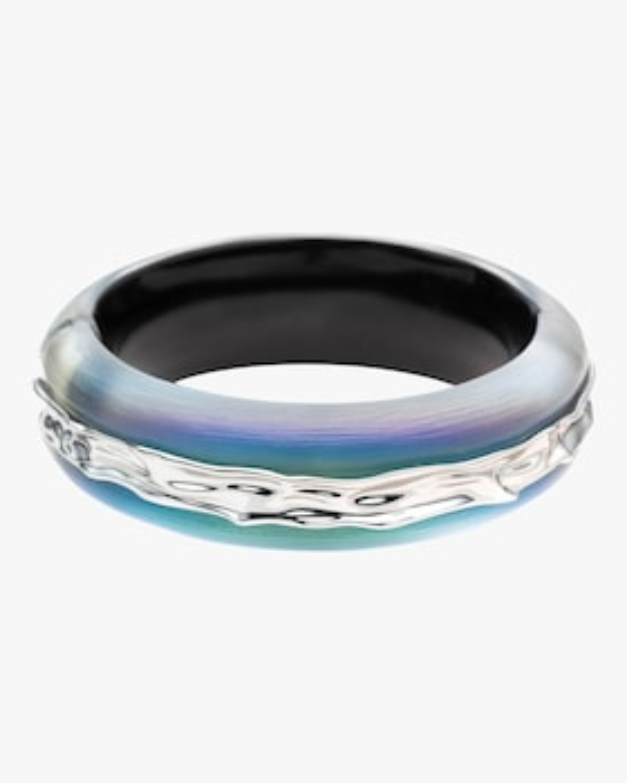 Crumpled Rhodium Inlay Hinge Bracelet