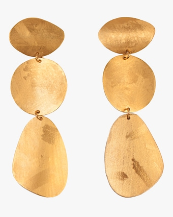 Yellow Gold Tiered Coin Earrings