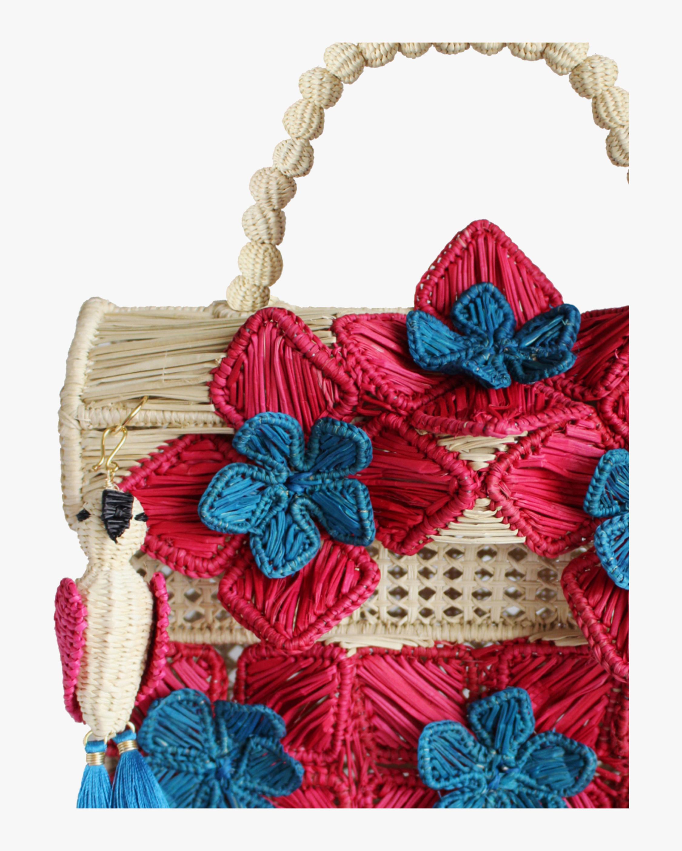 Six Flowers Woven Parrot Handbag