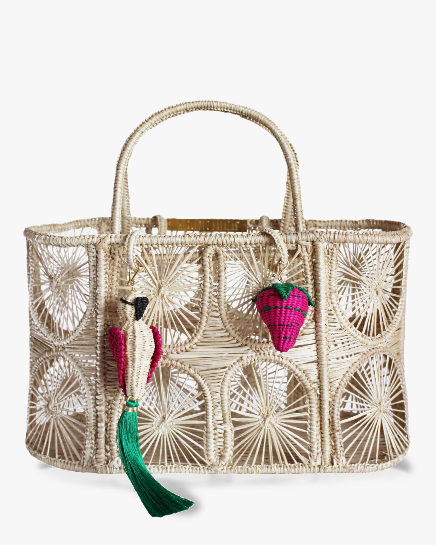 Eating Strawberries Woven Parrot Handbag