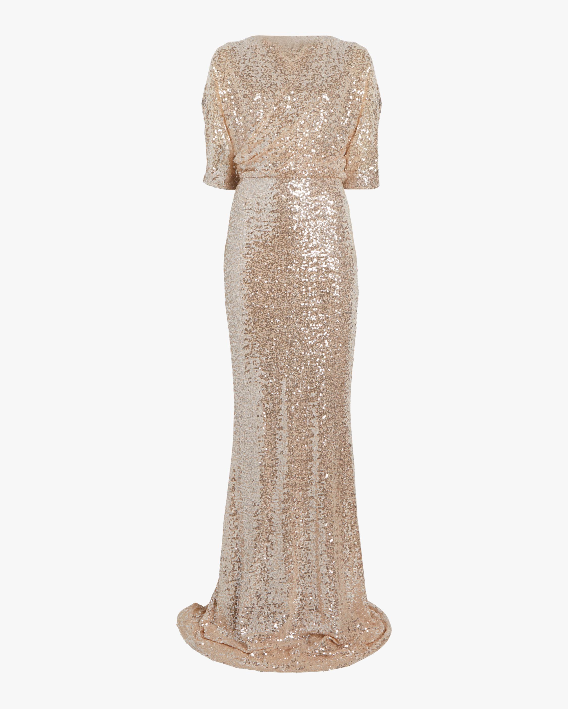 Badgley Mischka Sequin One Shoulder Gown 0