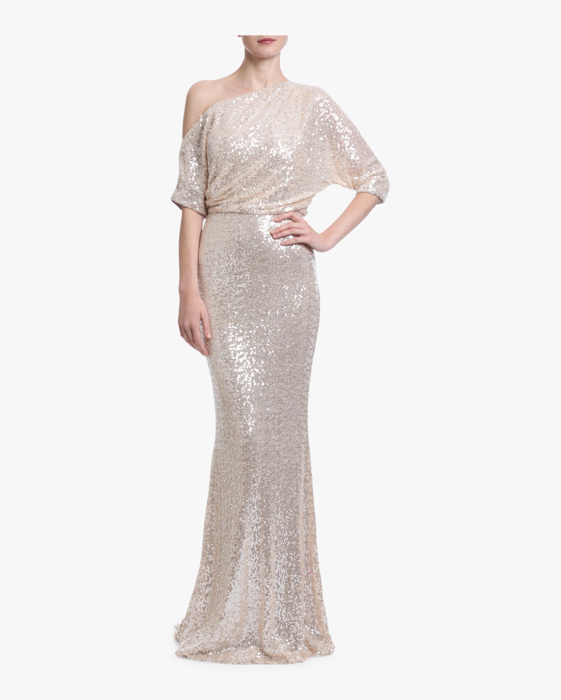 Badgley Mischka Sequin One Shoulder Gown 1
