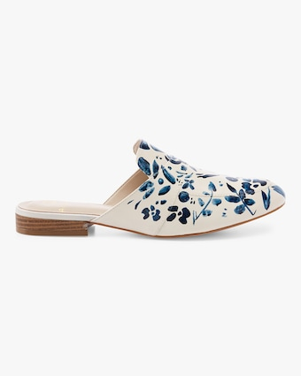 Alepel Hand Painted Denim Flower Mule 2