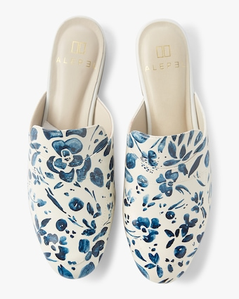 Alepel Hand Painted Denim Flower Mule 1