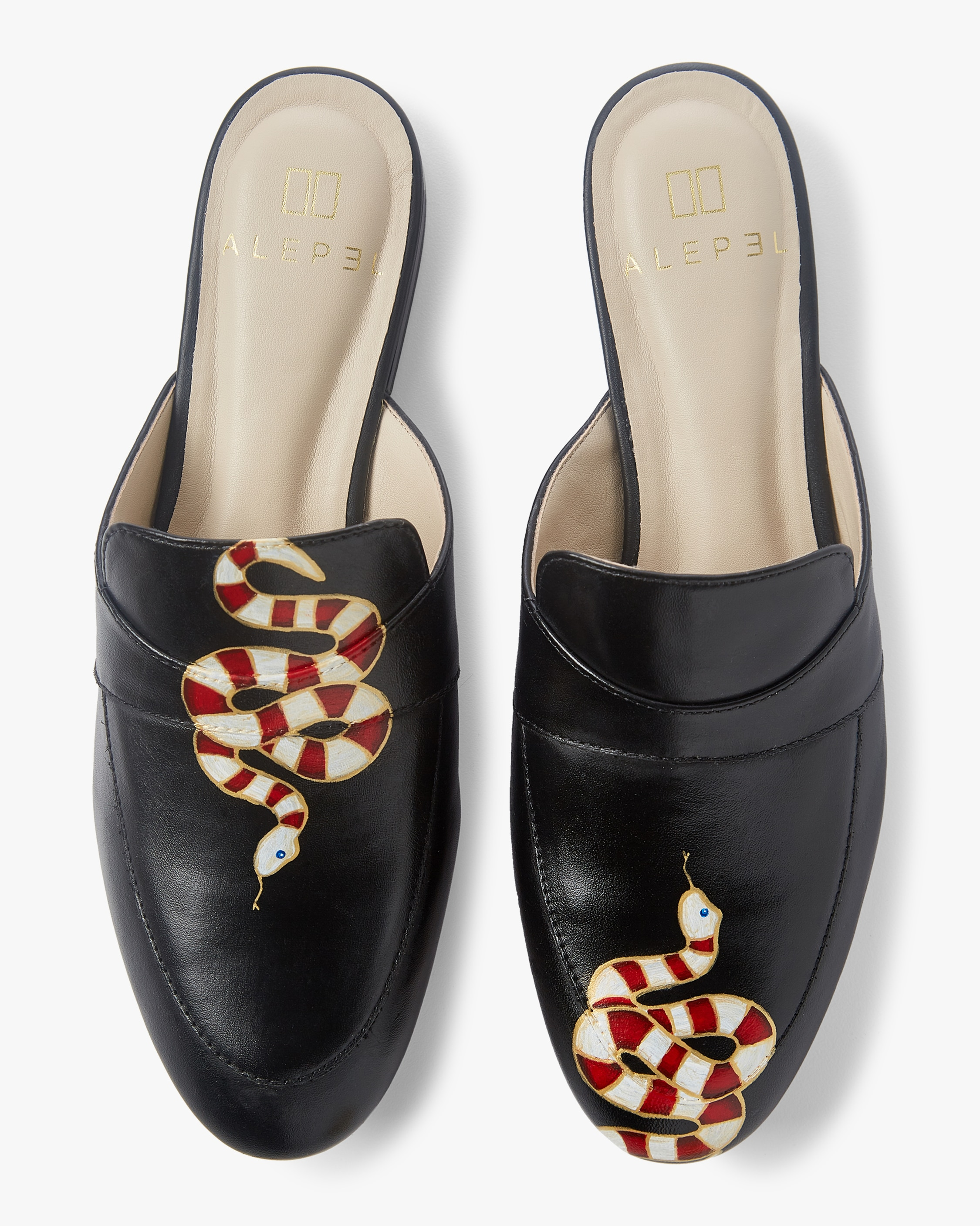 Alepel Hand Painted Gold Snake Mule 1