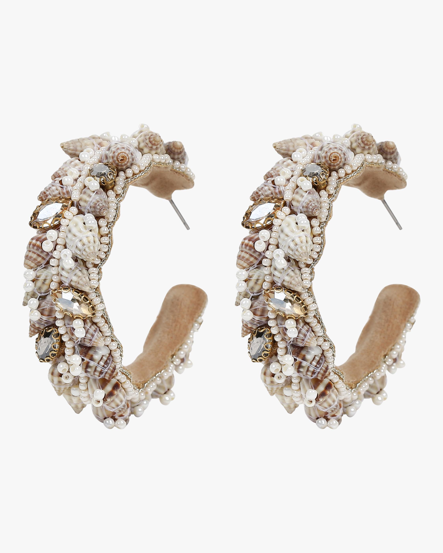 Kallie Beaded Seashell Hoop Earrings