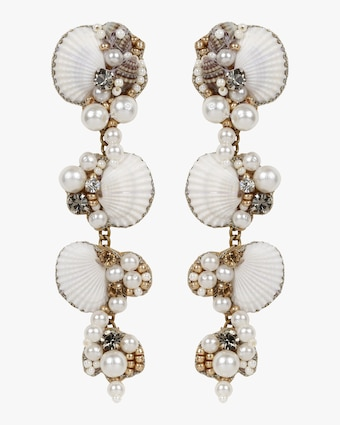 Aliyah Beaded Seashell Drop Earrings