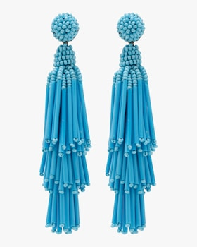 Rain Beaded Tassel Earrings