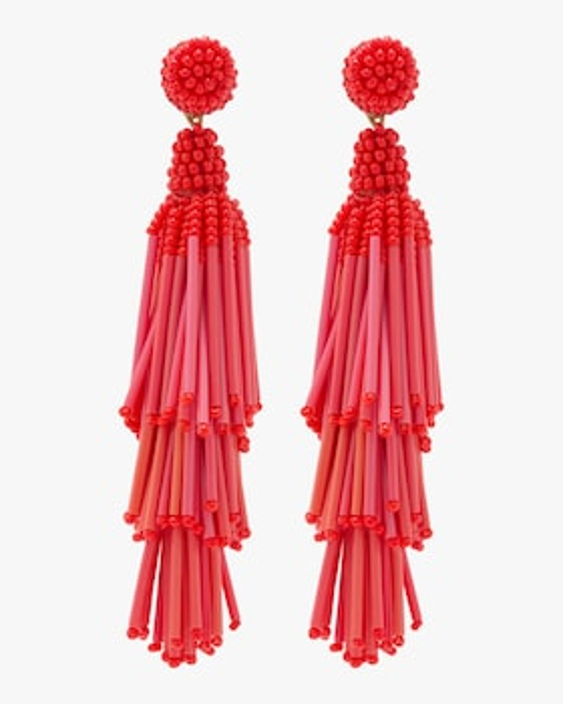 Rain Beaded Tassel Earrings