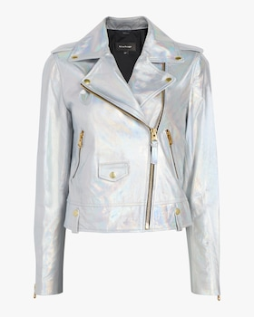 Baya Holographic Classic Moto Leather Jacket