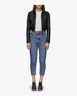 Bessie Cropped Leather Jacket