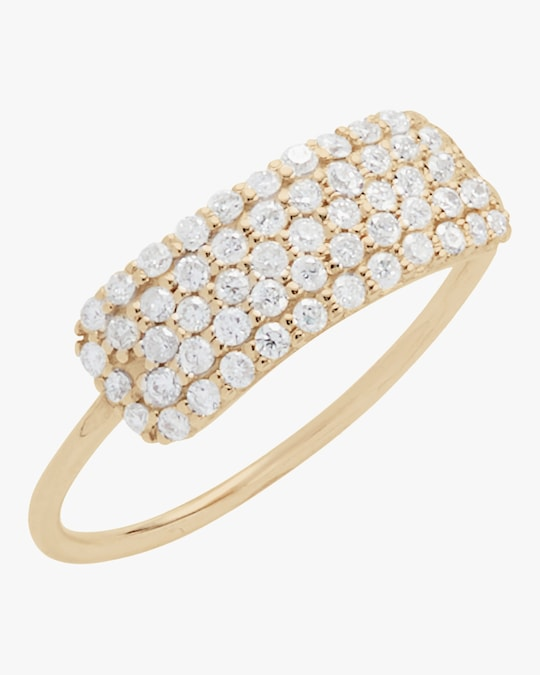 Sophie Ratner Diamond Studded Tag Ring 0