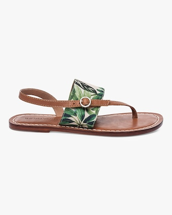 Meg Fabric Palm And Leather Sandal