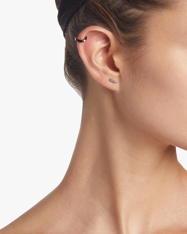 Single Black Diamond Bar Stud Earrings