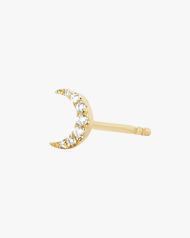 Single Diamond Moon Stud Earrings