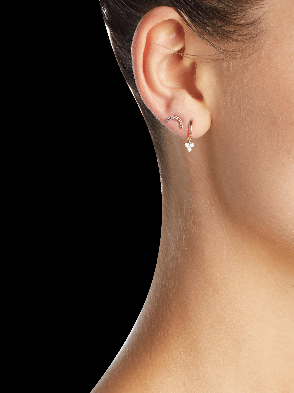 Mini Huggie Diamond Trio Drop Earrings