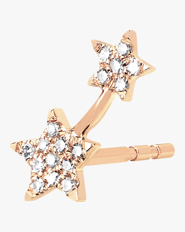 Single Diamond Double Star Stud Earring