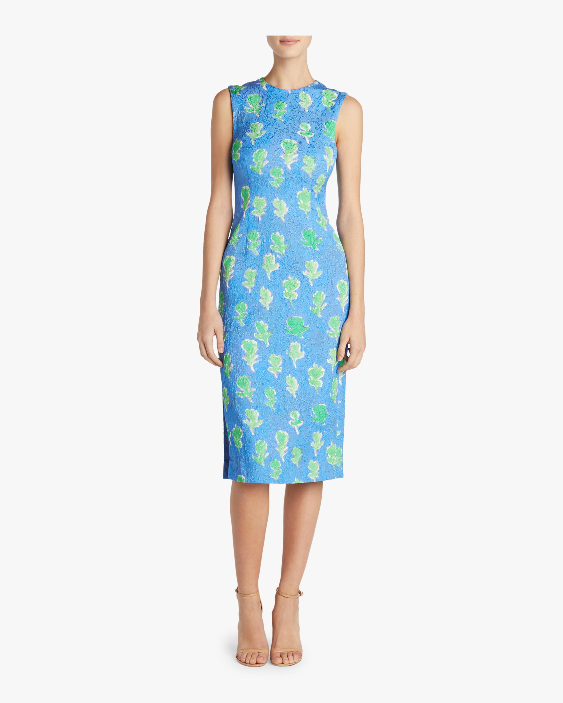Floral Stretch Brocade Dress