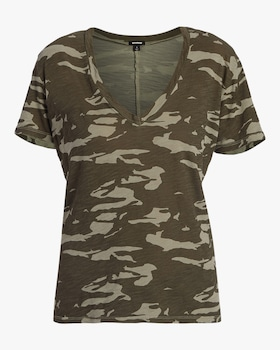Two Tone Camo Relaxed V-Neck Tee