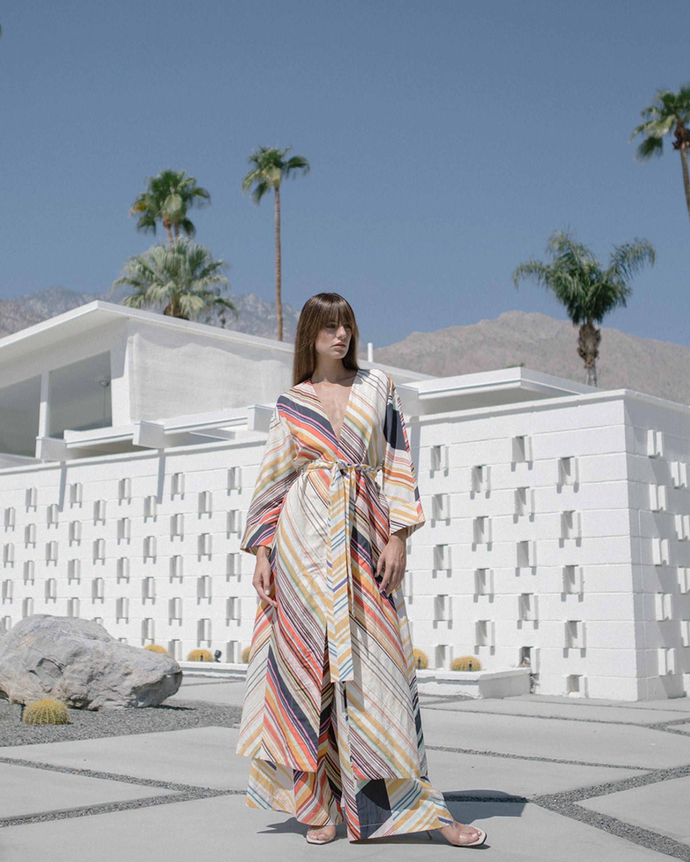 Kim Mid Century Stripe Belted Robe