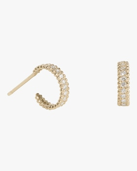 Small Embedded Diamond Hoop Earrings