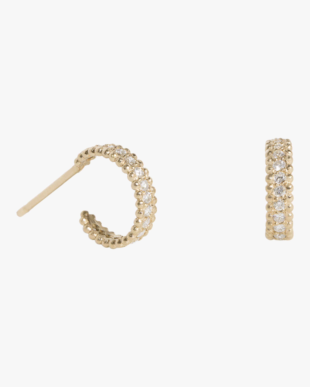 Small Embedded Diamond Hoop Earrings