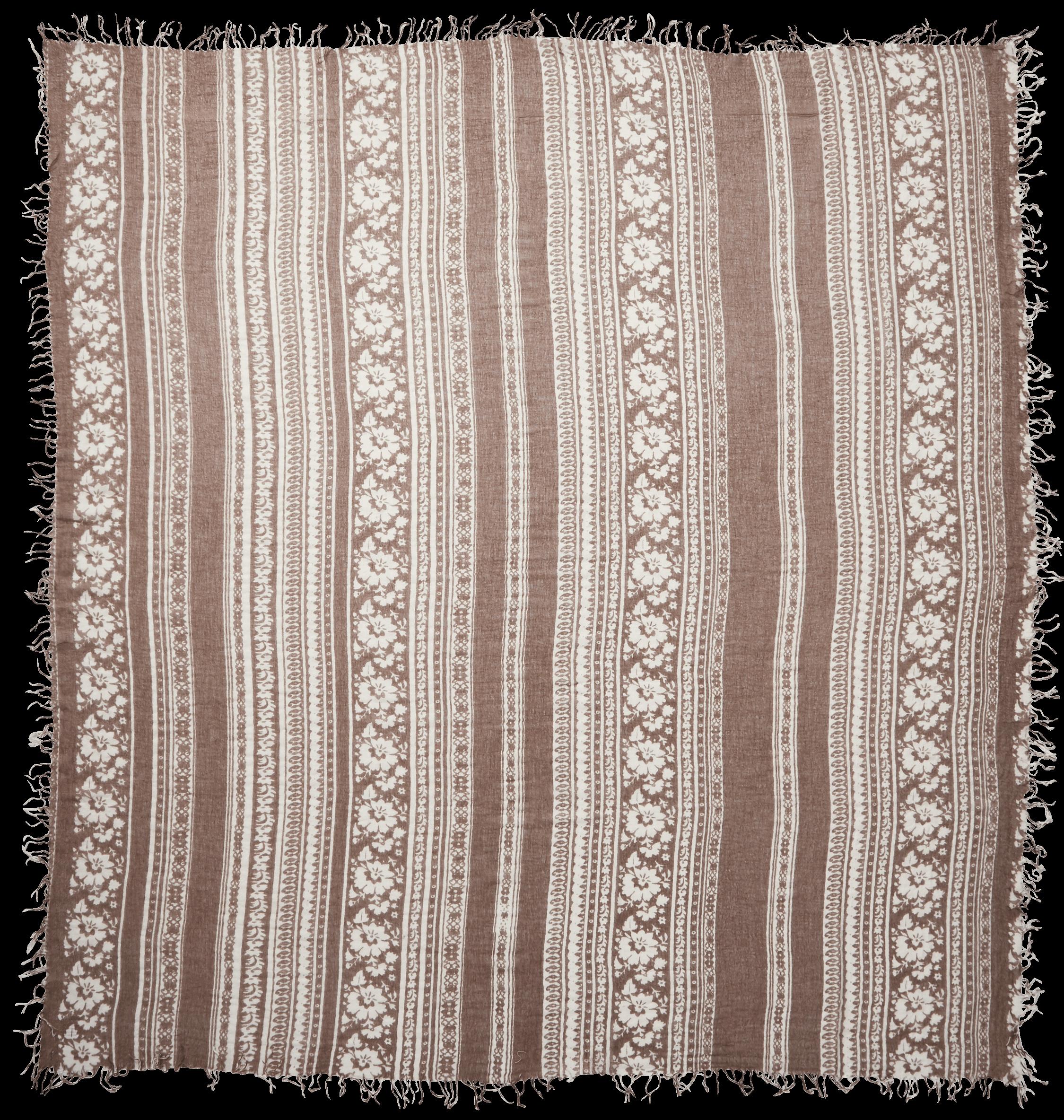 Floral Print Cashmere Silk Scarf