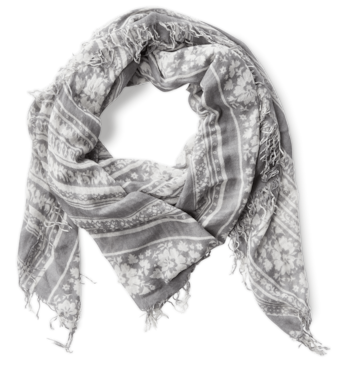 Floral Print Cashmere Silk Scarf