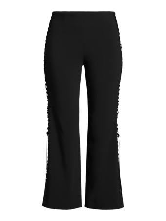 Laceup Stretch Crepe Cropped Pant