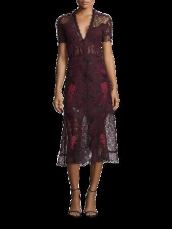 Grommet Lariat Lave Deep V Midi Dress